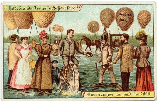 В 1900 году думали, что люди в 2000 будут ходить по воде