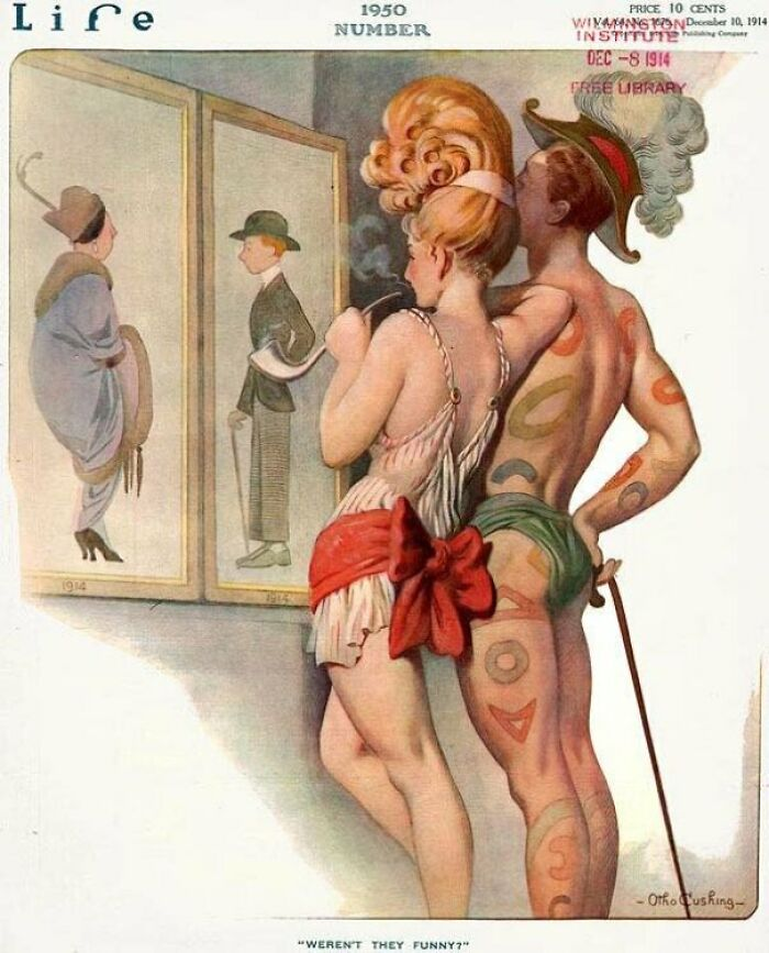 Какой должна была быть мода в 1950 году с точки зрения людей, живших в 1914. Но очевидно, что обножились люди гораздо раньше, вспомнить хотя бы фильмы Лени Рифеншталь