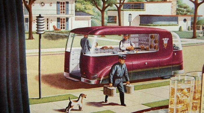 Доставка еды на дом в представлении 1940-х