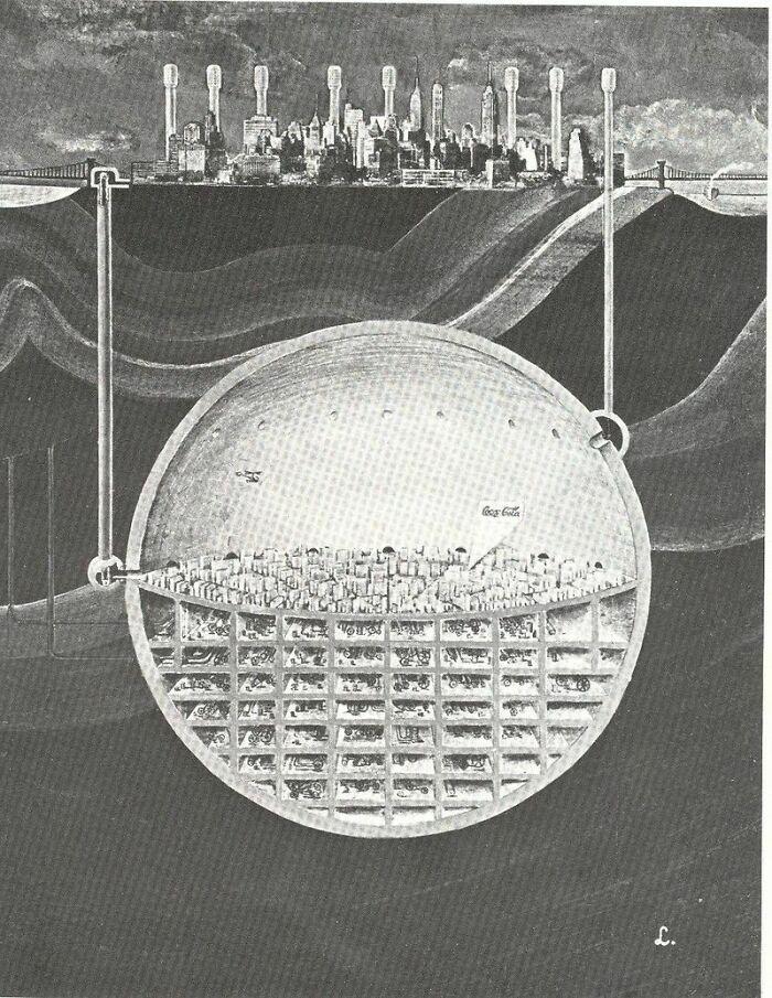 """На волне """"Карибского кризиса"""" речь зашла о постройке городов под землёй. """"Зеон, Нео"""" вот, что приходит на ум, после этой картинки из 1969 года."""