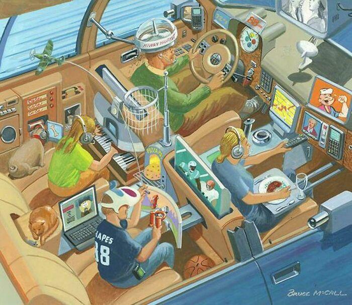 """Обычная семейная поездка, где в """"машине"""" каждый занят своим делом. С """"приветом"""" из 1980-х"""