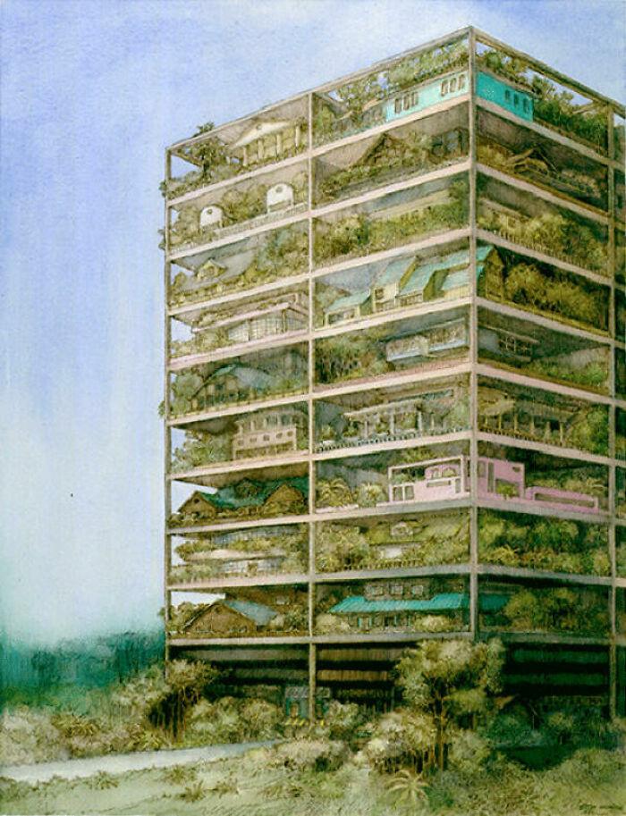 Очередной эко-город, состоящий из отдельных домохозяйств. 1981