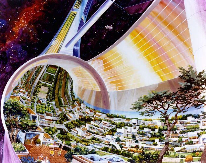 """""""Эквелибриум"""", т.е. город на орбите или межпланетный корабль, разработанный NASA в 1980-х"""
